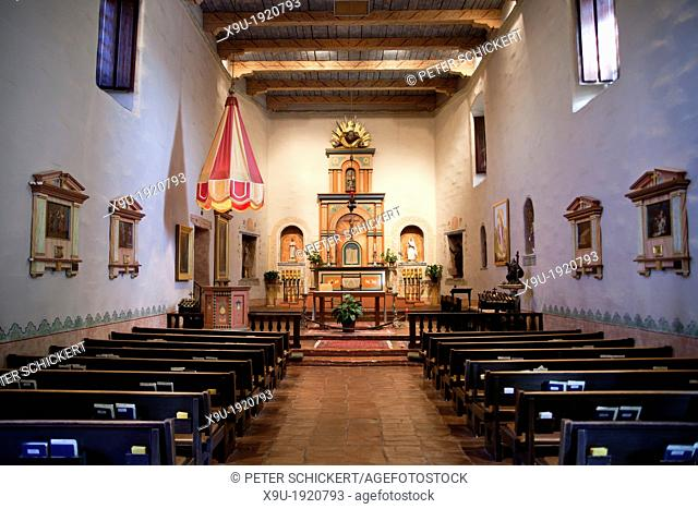 interior view of the Chapel of the Mission Basilica San Diego de Alcalá in San Diego, California, United States of America, USA