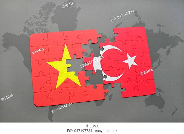 puzzle with the national flag of vietnam and turkey on a world map background. 3D illustration