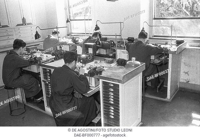Technicians at the Hydrographic Institute of Genoa, August 7, 1947, Genoa, Italy, 20th century. Genoa, Foto Studio Leoni