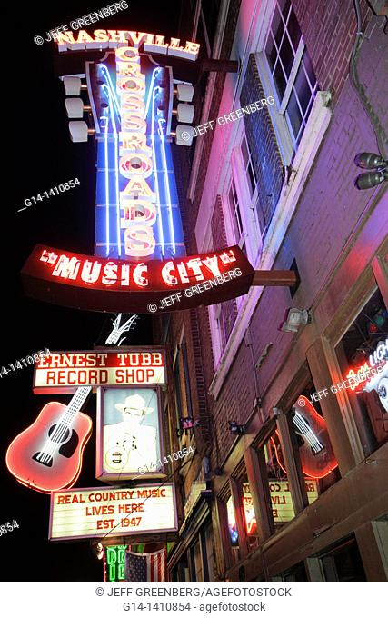 Tennessee, Nashville, 'Music City USA', downtown, Lower Broadway, business strip, neon light, sign, Ernest Tubb Record Shop, Crossroads, lounge, honky tonk
