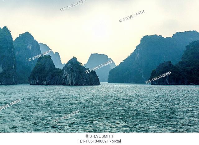 Karst formations in Halong Bay, Vietnam