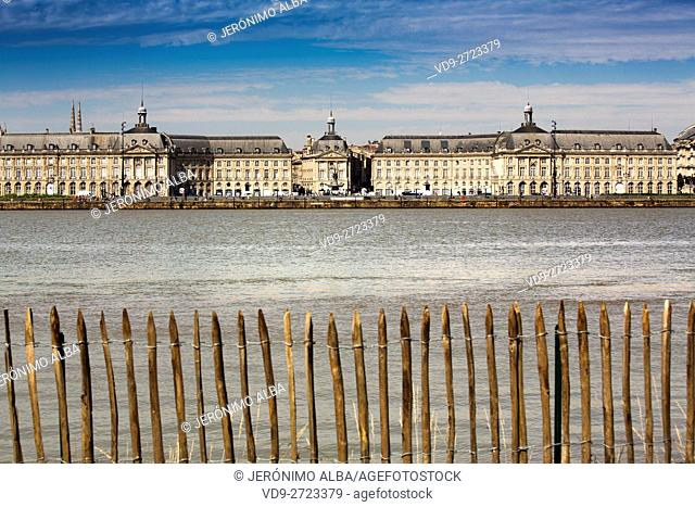 Garonne River and historical center of Bordeaux, Gironde. Aquitaine France Europe