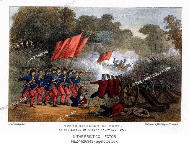Tenth Regiment of Foot, at the Battle of Steenkerque, 3rd August 1692. The Battle of Steenkerque was fought in what is now Belgium during the Nine Years War