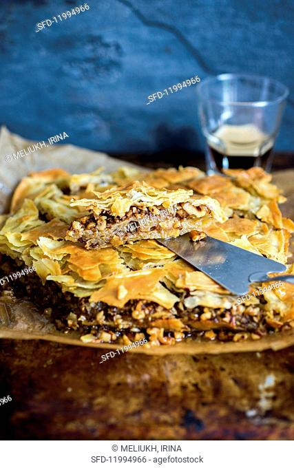 Homemade baklava with a nut and honey filling