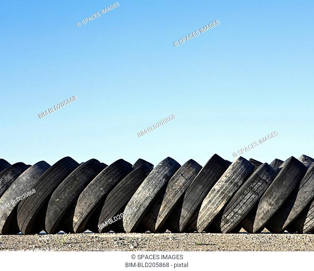 Stack of discarded rubber tires