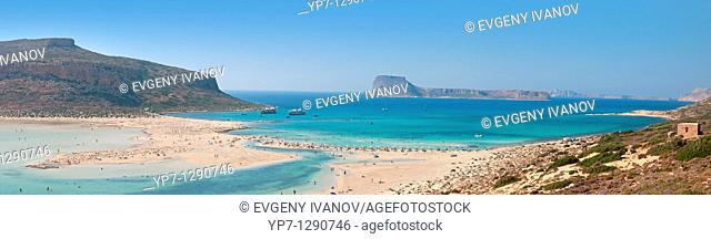 Balos beach Crete panoramic photo with Gramvousa island