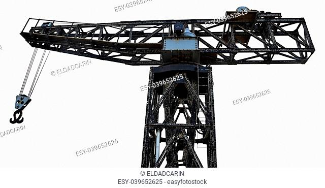 Vintage run-down crane isolated on white background