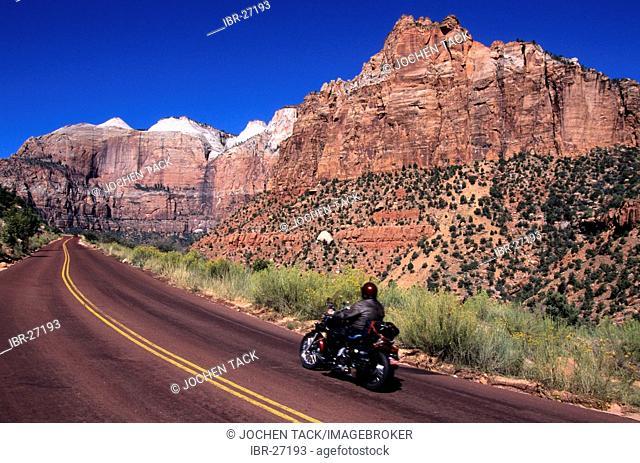 USA, United States of America, Utah: Zion National Park, biker
