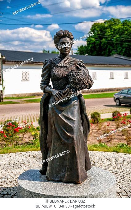 Statue of the Countess Elizabeth von Arnim in village Buk, West Pomeranian voivodeship, Poland. Elisabeth was an excellent writer and gardener
