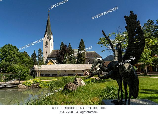 St. Johannes Baptist Church and the Spa Gardens, Oberstdorf, Oberallgäu, Bavaria, Germany