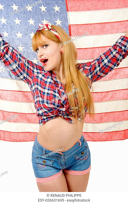 a sexy pin up girl isolated holding an American Flag