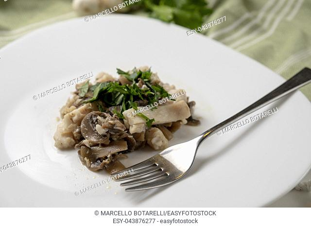 fillet of perch with champignon mushrooms and parsley on white plate