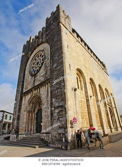 Pilgrims on horseback, Church of San Juan or St. Nicholas, pilgrim, Portomarin, Camino de Santiago (Way of Saint James), French Way, Lugo province, Galicia