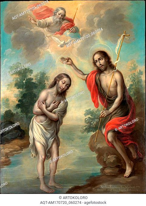 The Baptism of Christ, 1773, Oil on copper, 22 1/4 × 16 1/2 in. (56.5 × 41.9 cm), Paintings, Nicolás Enríquez (Mexican, 1704–1790)