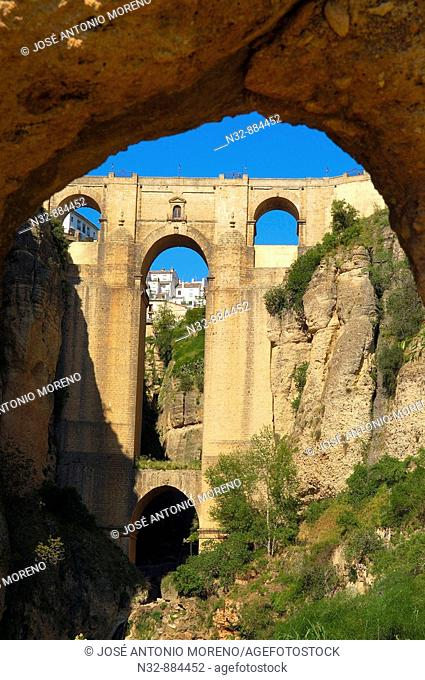 Puente Nuevo (new bridge) on 'tajo' gorge, Ronda. Malaga province, Andalusia, Spain