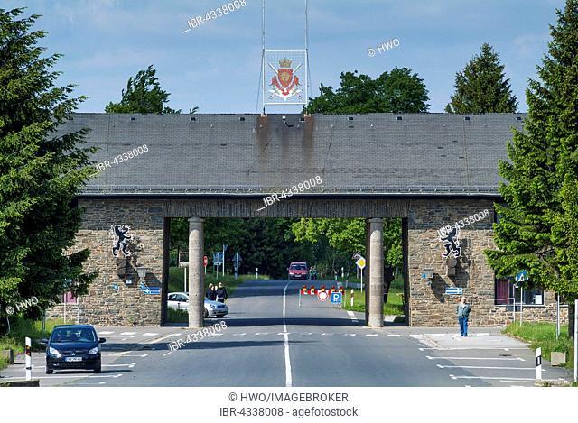 Entrance of Ordensburg Vogelsang, educational centre of the NSDAP from 1936-1939, now Forum Vogelsang, Eifel, North Rhine-Westphalia, Germany