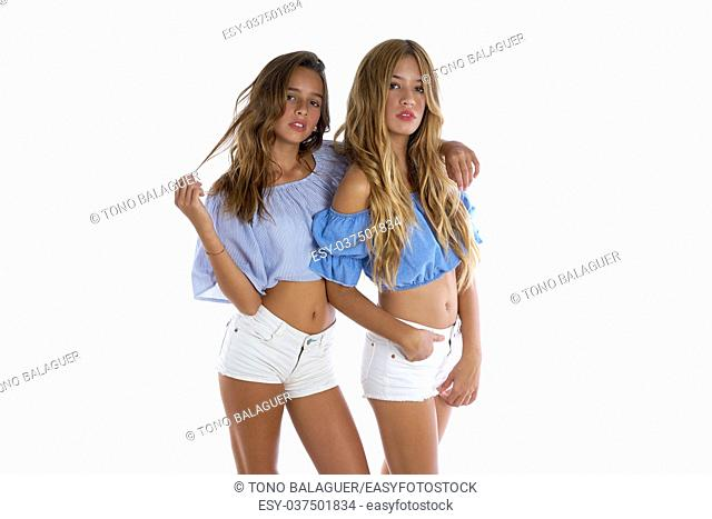 Teen best friends girls happy together on white background