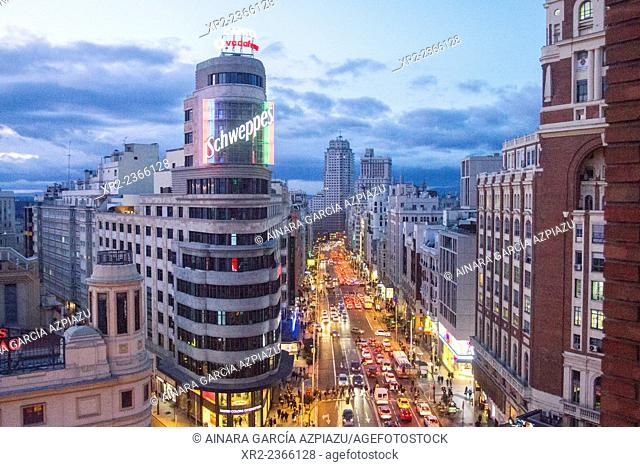 Aerial view of the traffic in Gran Vía at night, Madrid, Spain