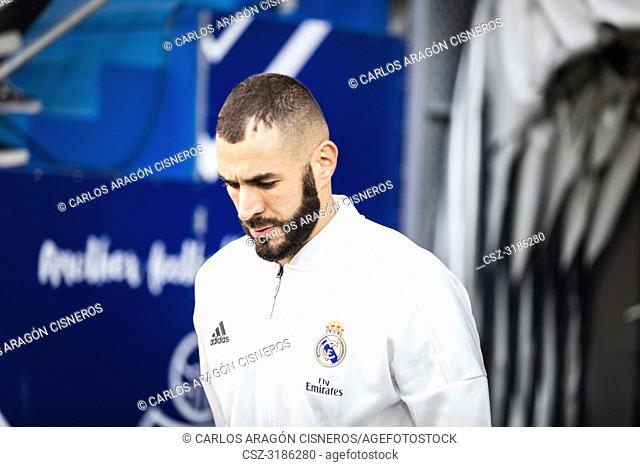 Karim Benzema, Real Madrid player leaves through the dressing room tunnel before La Liga match between Eibar and Real Madrid CF at Ipurua Stadium on November 24