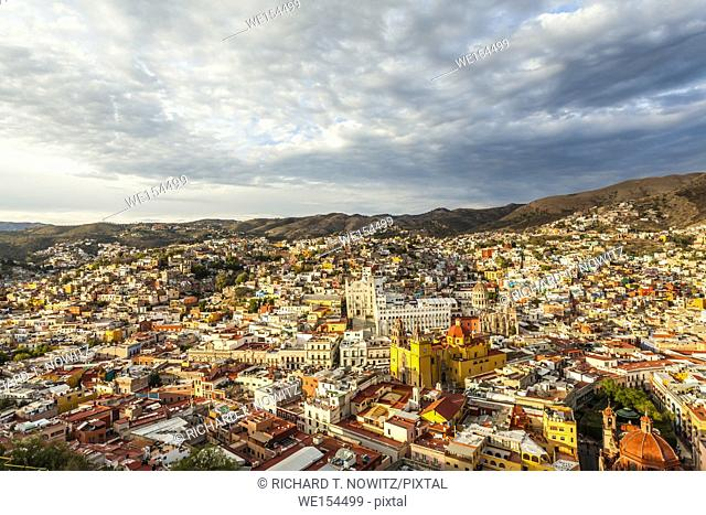 The high angle view of the historic city center of Guanajuato, Mexico