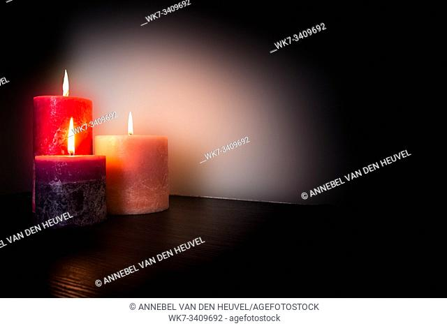 Romantic Candlelight background texture, valentine's concept with space for text red