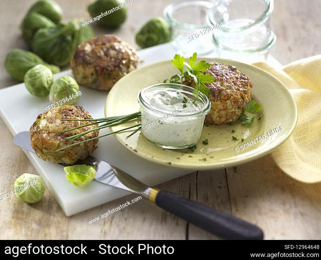 Meatballs with Brussels sprouts and a dip