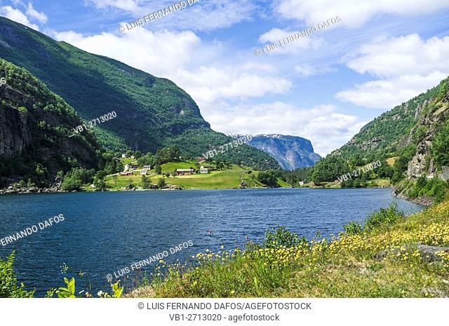 Landscape with lake near Aurland, Norway