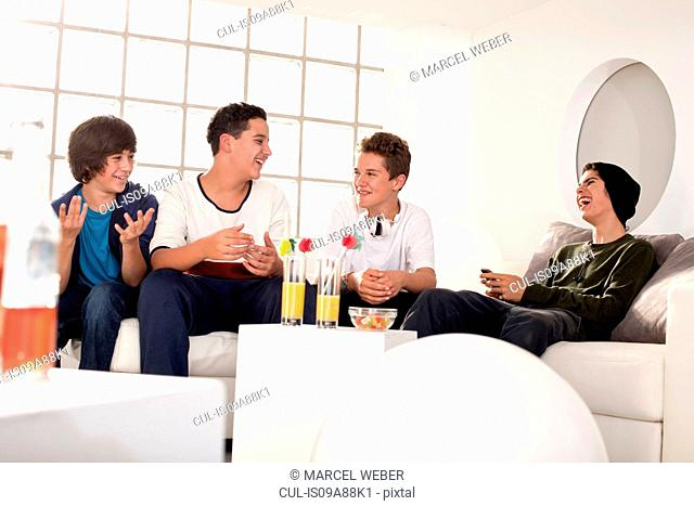 Teenage boys at house party