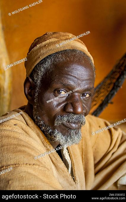 Portrait of the village chief of Segoukoro village (Bambara tribe) near Segou city in the center of Mali, West Africa
