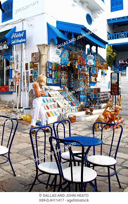 Africa, North Africa, Tunisia, Sidi Bou Said, Souvenir Shops, White and Blue Architecture