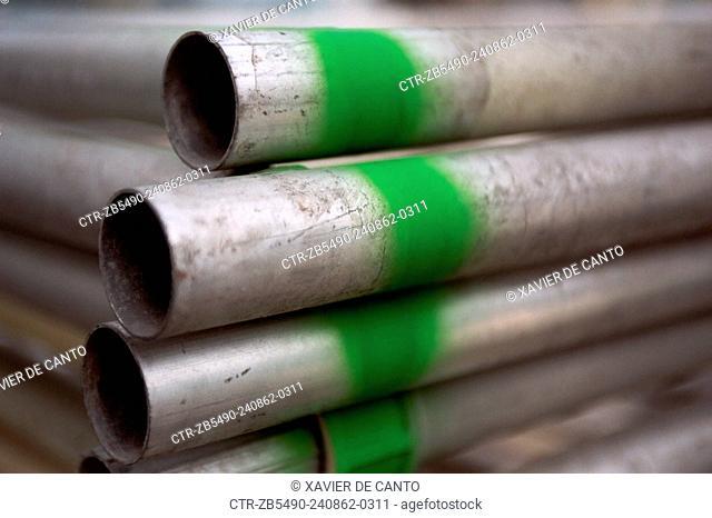 Stockpile of scaffolding tubes