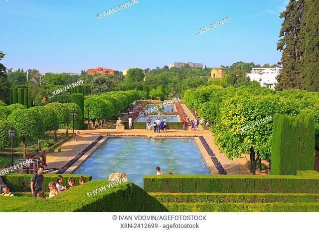 Gardens of Alcazar of the Christian Kings (Alcazar de los Reyes Cristianos), Cordoba, Andalusia, Spain