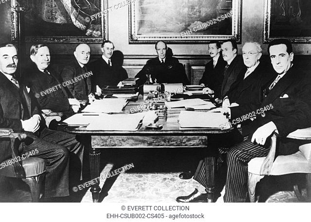 Lord Halifax, Foreign Secretary in Neville Chamberlain's Cabinet presiding over a meeting. April 16, 1940. He met with Britain's ambassadors to plan for a...