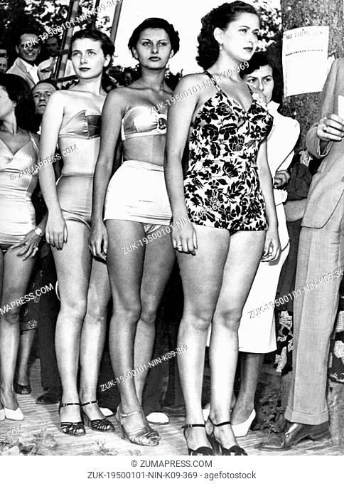 Jan. 1, 1950 - Salsomaggiore, Italy - One of the most successful international stars of the postwar era, SOPHIA LOREN during 'Miss Italia' pageant