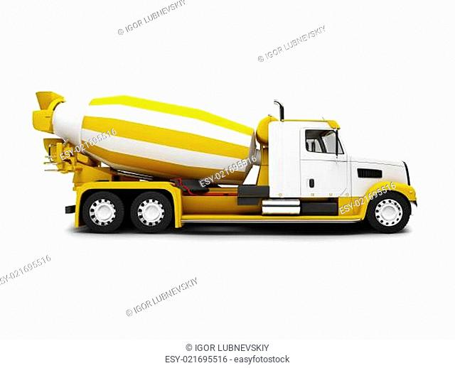 Concrete mixer isolated side view with clipping path