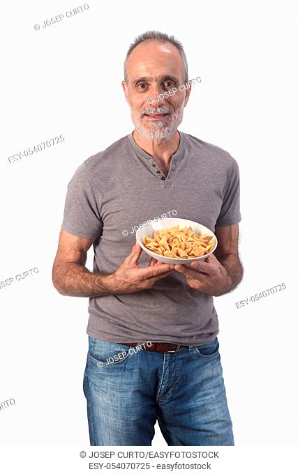 man with snacks on white background