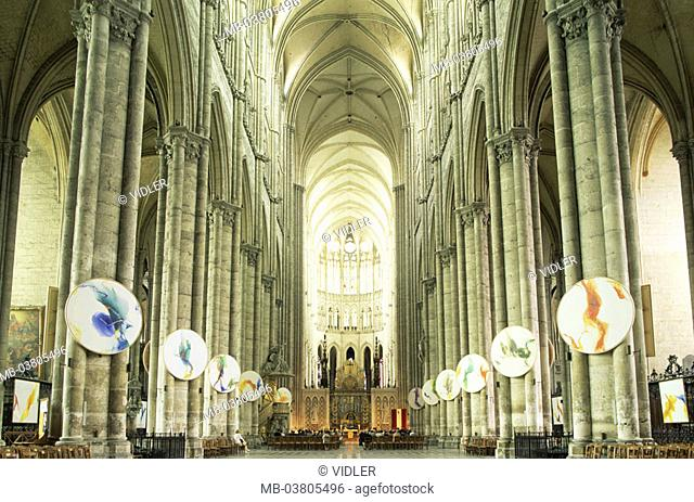 France, Picardie, Amiens,  Cathedral Notre-Dame, 1220-1288,  Interior opinion  Europe, North France, department Somme, city, landmarks, church, basilica