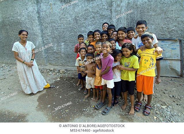 Young Indians boys and girls pose for a group shoot in Santacruz district, Mumbai, Maharashtra, India