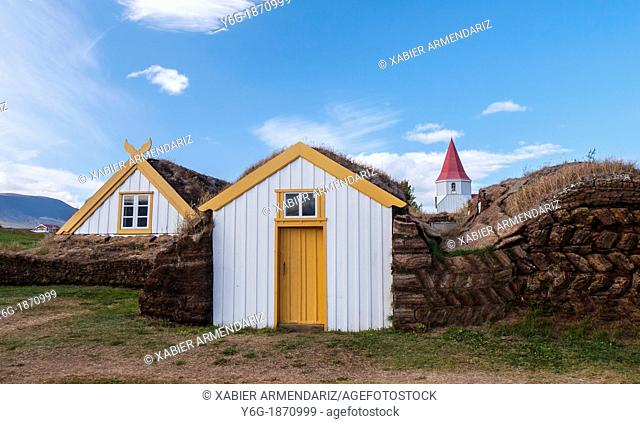 Traditional houses in Glaumbær, roofs and walls built of peat in the eighteenth century  Iceland, Scandinavia, Europe