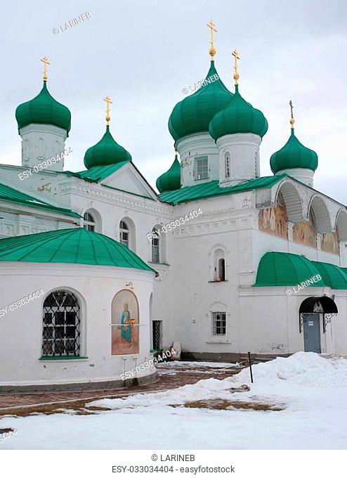 Alexander-Svirsky Orthodox monastery in winter, the town of Lodeynoye Pole, north of Russia