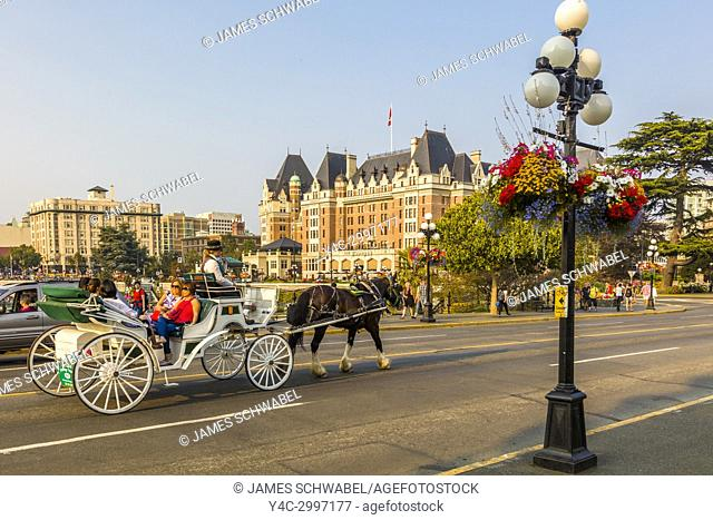 Horse-drawn carriage in Victoria known as the Garden City on Vancouver Island in British Columbia, Canada