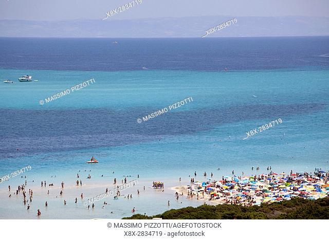The beach of La Pelosa with turists, Stintino, Sardinia, Italy