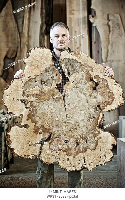 Caucasian man factory worker holding a sawn cross section of a tree trunk in a woodworking factory using recycled timber