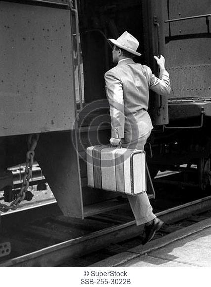 Rear view of a businessman boarding a train