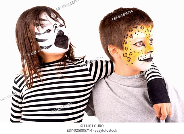 Children's couple with animal's face-paint isolated in white