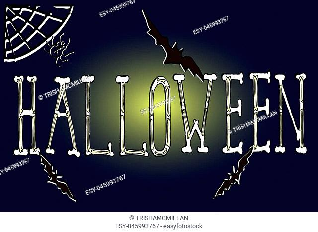 Hand drawn Halloween illustration with hand written word Halloween.Flying bats on a full moon background. Vector greeting card