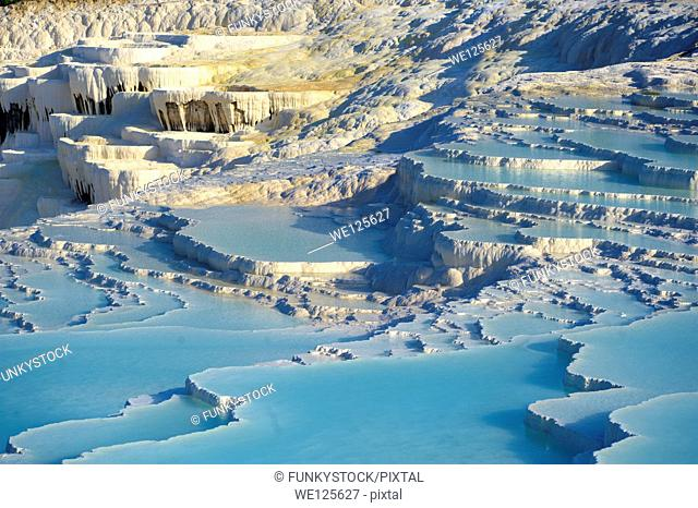 Pamukkale Travetine Calcium carbonate rock formation Terraces, Turkey