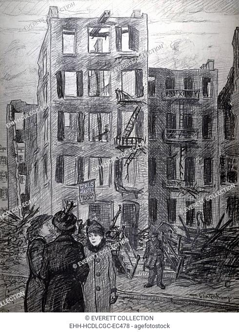 Triangle Shirtwaist fire. 'Girls wanted'. Three women standing across street from the burned-out shell of a building from which hangs the sign, 'Girls wanted