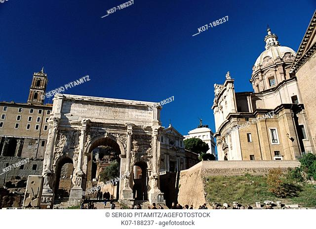 Arch of Septimius Severus and church of Santi Luca e Martina. The Forum. Rome