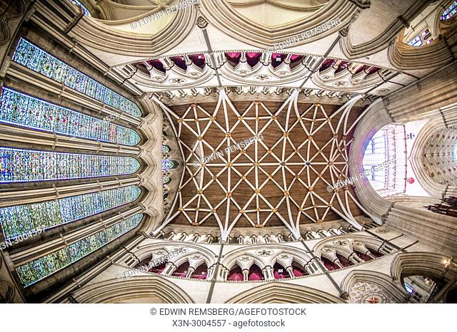 Detailed view of ceiling of transept in York Minster from directly below, York, Yorkshire, United Kingdom